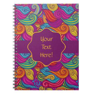 Cadernos Espiral A listra ondulada colorida personalizada roda