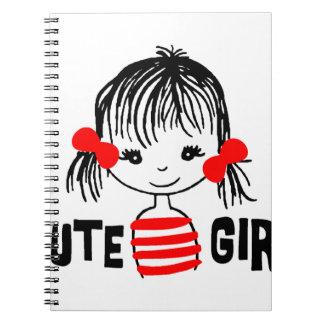 Cadernos Espiral a menina bonito, refrigera o design