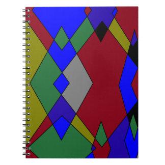 Cadernos Espiral Abstrato colorido retro do diamante