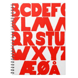 Cadernos Espiral Alfabeto norueguês