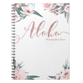 Cadernos Espiral Aloha aguarela moderna floral tropical do rosa