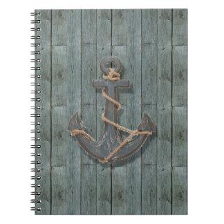 Cadernos Espiral Âncora náutica de madeira da praia rústica da