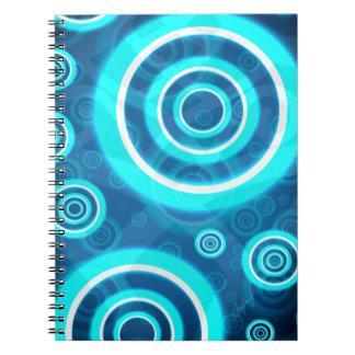 Cadernos Espiral Anéis cósmicos de incandescência do azul