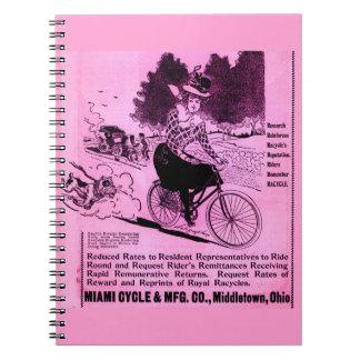 Cadernos Espiral anúncio da bicicleta dos 1890s o Racycle