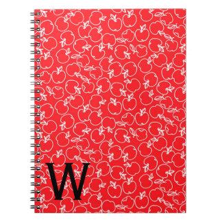 Cadernos Espiral Apple branco modela no monograma vermelho