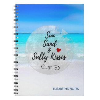 Cadernos Espiral Areia de Sun e praia tropical dos beijos salgados