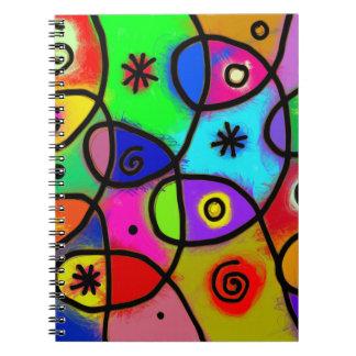 Cadernos Espiral Arte abstracta colorida e do divertimento no