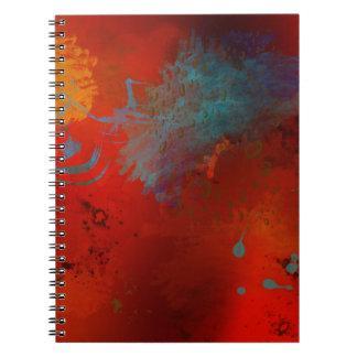 Cadernos Espiral Arte abstracta do Grunge do vermelho, do Aqua & do