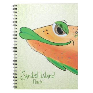 Cadernos Espiral Arte adorável salgado dos peixes de Sam - ilha de