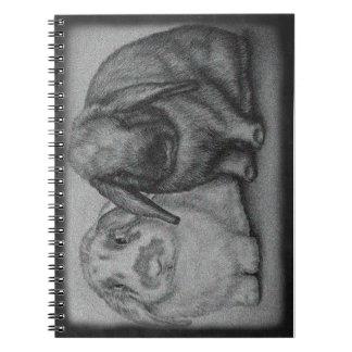 Cadernos Espiral Arte animal do giz do coelho do desenho do coelho