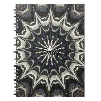 Cadernos Espiral Arte branca azul cinzenta do preto do design do