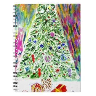 Cadernos Espiral Arte da árvore do Xmas