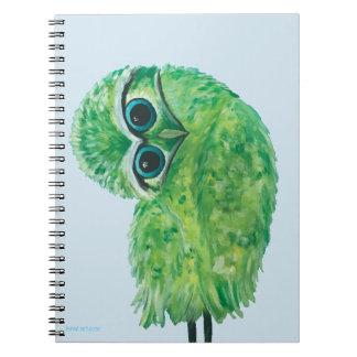 Cadernos Espiral Arte litoral Burrowing verde da coruja