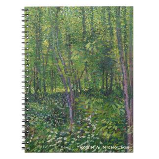 Cadernos Espiral Árvores e Undergrowth de Van Gogh personalizados