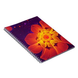 Cadernos Espiral Azuis marinhos, vermelho, e margarida do Gerbera