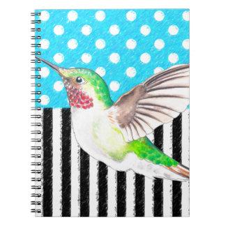 Cadernos Espiral Azul artística do colibri