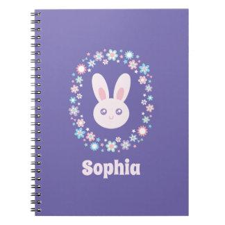 Cadernos Espiral Azul bonito da lavanda do coelho de coelho das