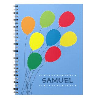 Cadernos Espiral Balão colorido que agrupa meninos personalizados