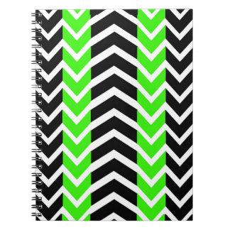 Cadernos Espiral Baleia verde e preta Chevron