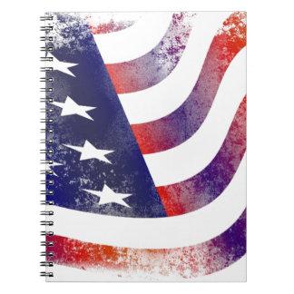 Cadernos Espiral Bandeira americana do Grunge