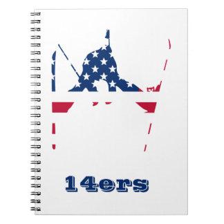 Cadernos Espiral Bandeira dos EUA do americano de esqui de América