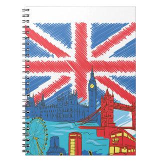 Cadernos Espiral bandeira e cidades solitárias do vintage