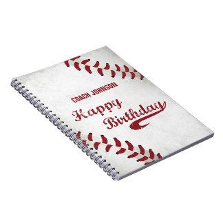 Cadernos Espiral Basebol do Grunge do feliz aniversario do