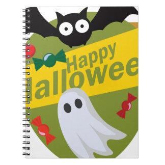 Cadernos Espiral Bastões e fantasmas felizes do Dia das Bruxas