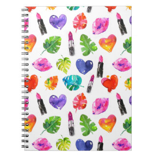 Cadernos Espiral Batons do beijo do pino das folhas de palmeira da