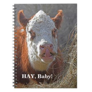 """Cadernos Espiral Bebê engraçado do FENO! Jogo """"sexy"""" da vaca em"""