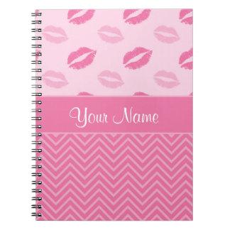 Cadernos Espiral Beijos e ziguezagues rosa e branco