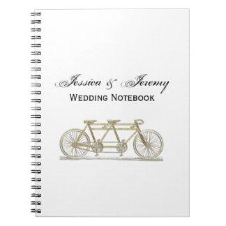 Cadernos Espiral Bicicleta do vintage construída para dois/ouro em