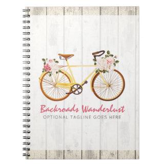 Cadernos Espiral Bicicleta do vintage do chique no costume de