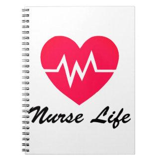 Cadernos Espiral Bloco de notas vermelho do coração da vida EKG da