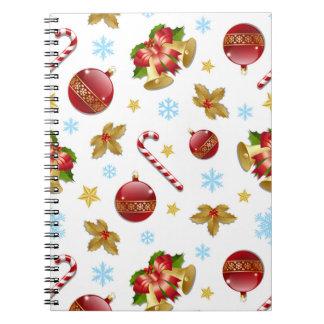 Cadernos Espiral Bolas vermelhas & douradas do Natal, azevinho do