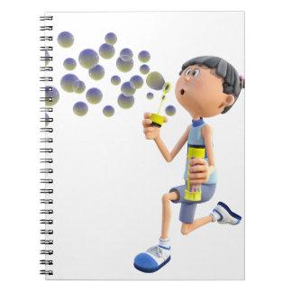 Cadernos Espiral Bolhas de sopro da menina dos desenhos animados