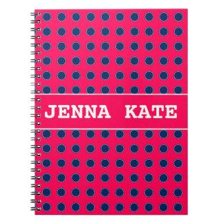 Cadernos Espiral Bolinhas do rosa e dos azuis marinhos do verão