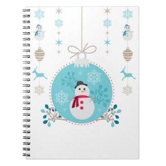 Cadernos Espiral Boneco de neve com as decorações de suspensão do