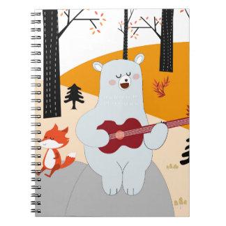Cadernos Espiral Bonito cante um lobo da raposa da canção do verão