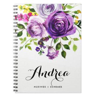 Cadernos Espiral Botânico roxo dos rosas da aguarela personalizado