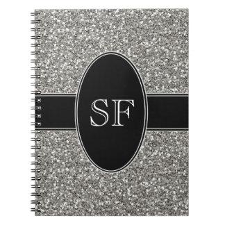 Cadernos Espiral Brilho do falso e monograma preto