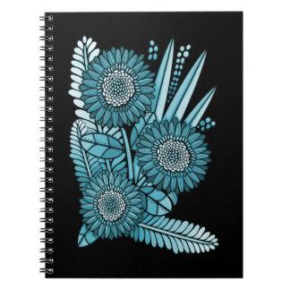 Cadernos Espiral Buquê da flor da margarida do Gerbera do azul de