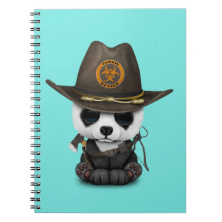 Cadernos Espiral Caçador do zombi do urso de panda do bebê