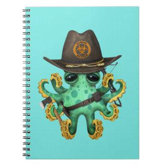 Cadernos Espiral Caçador verde do zombi do polvo do bebê