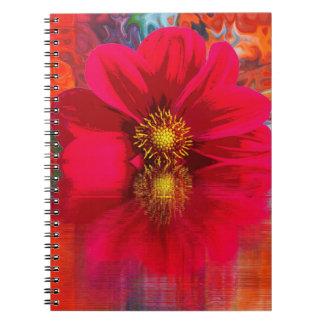 Cadernos Espiral Caderno:  Flor vermelha com explosão de cor
