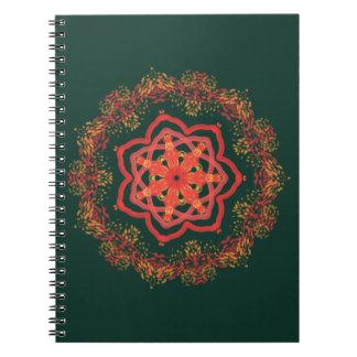 Cadernos Espiral caleidoscópio de incandescência do girassol no