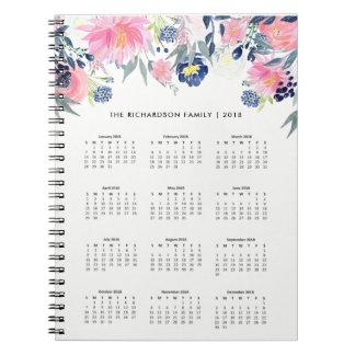 Cadernos Espiral Calendário 2018 floral na moda do rosa e dos azuis