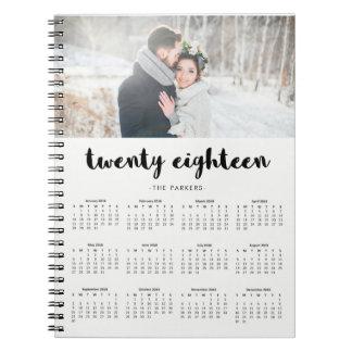 Cadernos Espiral Calendário 2018 moderno mínimo da foto da