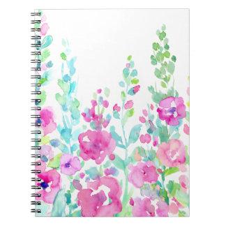 Cadernos Espiral Cama floral abstrata da aguarela