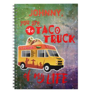 Cadernos Espiral Caminhão do Taco de meu fundo da Laço-tintura da